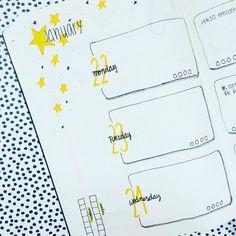 Weekly yellow spread bullet journal #bulletjournal #bujo #weekly