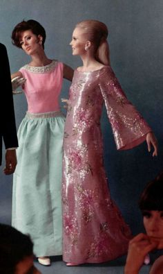 1966 - Balmain and Dior evening dresses formal gowns pink metallic lurex floral satin blue long skirt shift sheath designer mid 60s MCM mid century elegance vintage fashion