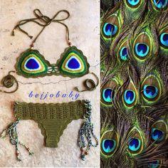 Modelo de crochê inspirado nas penas de pavão. Lindo!
