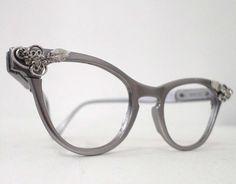 Cool Matte Aluminum Cat Eye Eyeglass Frames, 1950s 1960s, Rhinestones. Slightly Larger Cat Eye Frame