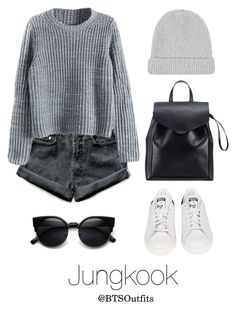 """LA Date with Jungkook"" by btsoutfits ❤ liked on Polyvore featuring Levi's, Acne Studios, Loeffler Randall and adidas"