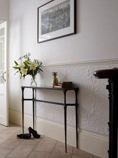 Grey Wood Top Black Iron Legs Skinny Entryway Table On Cream Tile Floor In White…