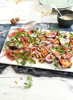 Chargrilled peach and roasted fig salad with prosciutto, blue cheese and walnuts from What Katie Ate
