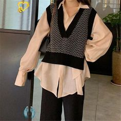 beautiful outfits  <br> Trend Fashion, Look Fashion, Korean Fashion, Girl Fashion, Autumn Fashion, Fashion Vest, Fashion Hacks, Knit Fashion, Fashion Beauty