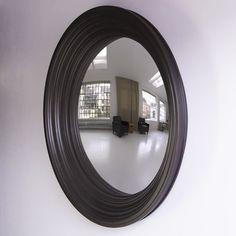 Rohana Decorative Convex Mirror in Black Grain Convex Mirror, Mantles, Round Mirrors, Entrance, Interior Design, Pictures, Black, Home Decor, Entryway