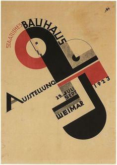 During the summer of the first Bauhaus exhibition took place in Weimar. Joost Schmidt, who later became a Bauhaus instructor but was still a student at the time, designed an exhibition poster that was used to promote the event across the entire country. Design Bauhaus, Bauhaus Art, Bauhaus Logo, Bauhaus Style, Herbert Bayer, Design Graphique, Art Graphique, Schmidt, Plakat Design