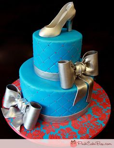 Perfect blue shoe cake!