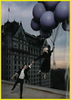 #BG111 : ELLE Magazine (US): September.   Photgraphed by Matthu Placek.     Up, up, & away! Our fashion director, Linda Fargo, gets carried away with WES GORDON (and a look he created exclusively for our anniversary).     For more details, call 212 753 7300.