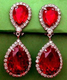 Ruby Red Teardrop Crystals Set in Gold with Crystal Detailed French Earrings Ruby Earrings, Rhinestone Earrings, Crystal Rhinestone, Dangle Earrings, Diamond Earrings, Diamond Nails, Vintage Rhinestone, Teardrop Earrings, Red Jewelry