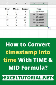 How to Convert timestamp into time With TIME & MID Formula? – Excel formulas and functions – Basic Excel Formulas Read Later, All You Can, How To Get, Technology, Learning, Words, Cleaning Hacks, Microsoft, Ms