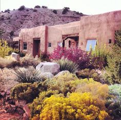 Ojo Caliente Hot Springs, New Mexico, adobe house, landscaping New Mexico, Mexico Style, Oh The Places You'll Go, Places To Travel, Places To Visit, Adobe House, Desert Homes, Land Of Enchantment, Beautiful Places