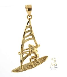 Gold Windsurfer Pendant 14K Yellow - Casa de Oro Jewelers Gold Pendants, Windsurfing, Decorative Bells, Pendant Jewelry, Fine Jewelry, Jewels, Yellow, Gifts, Accessories