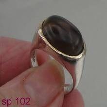 Hadar Designers Art Silver & gold 9k smoki topaz stone Ring 7.5, Oval Stone ring, Free Shipping, Birthday Gift, Israeli Jewelry, (sp 102)
