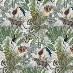 Wallpaper design for Jimmy Cricket Australia. The wallpaper is a halfdrop repeat and takes the viewer into a magical jungle world. The jungle wallpaper is available both in the Jimmy Cricket online store as in various other stores. Hirsch Wallpaper, Boat Wallpaper, Deer Wallpaper, Flamingo Wallpaper, Beige Wallpaper, Animal Wallpaper, Wallpaper Jungle, Hallway Wallpaper, Wallpaper Toilet