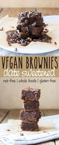 Perfect Vegan Date Sweetened Brownies with Caramel Crunch topping | www.veggiesdontbi... |