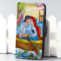 ariel and eric at ship disney the little mermaid wallet case for iphone 4,4s,5,5s,5c,6 and samsung galaxy s3,s4,s5 - LSNCONECALL.COM