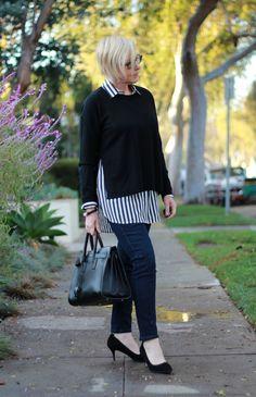 J.Crew silk shirt, Eileen Fisher sweater, Saint Laurent small Sac de Jour
