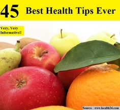 45 Best Health Tips Ever...For more creative tips and ideas FOLLOW https://www.facebook.com/homeandlifetips