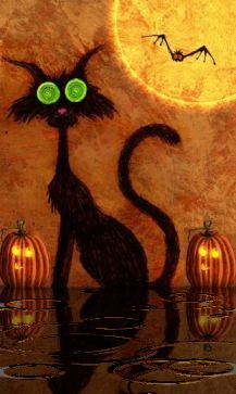 Happy halloween magic cat Mobile Screensavers available for free download.