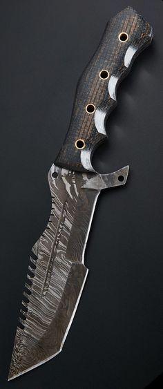 BucknBear Custom Handmade Damascus Tanto Tracker Fixed Blade Knife: