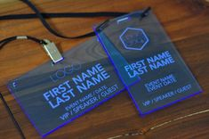 Laser Engraved Fluorescent Blue Conference and Event Badges ...