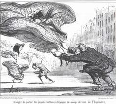 dessin humoristique par Daumier (fameux caricaturiste français du milieu du 19e) sur les méfaits du vent dans les crinolines ...
