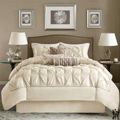 Madison Park Laurel 7 piece Comforter Set - Ivory #comforter #bedding #bedroom