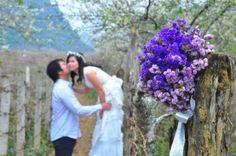 focus on the bridal bouquet