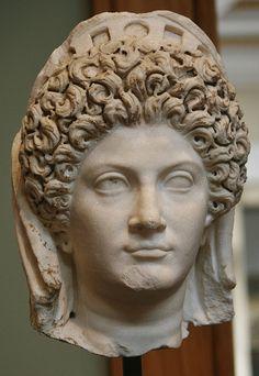 Marble and Pigment Head of Julia Titi, Roman, about A.D. 90, Getty Villa, Malibu, California