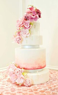 Floral ombre wedding cake. #www.celebritystyleweddings.com #CelebStyleWed