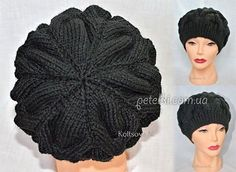 Takes with a pattern of three-dimensional braids (Knitting with knitting needles) Crochet Russe, Crochet Cap, Crochet Shawl, Knitting Projects, Crochet Projects, Knitting Patterns, Bonnet Russe, Crochet Tablecloth, Slouchy Beanie