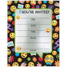 Emoji Foil Birthday Party Invitations (8 Count) - Party Invitations and other Party Supplies