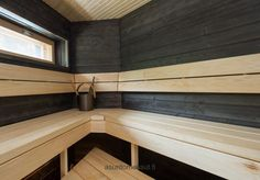 Passiivikivitalo Mutteri - Sauna | Asuntomessut Black Ceiling, Spa Rooms, Saunas, Grey Walls, Bathroom Interior, Natural Wood, Stairs, Interior Design, House