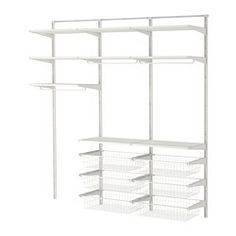 IKEA - ALGOT, Wandrail/planken/stang, De onderdelen van de ALGOT serie kunnen op diverse manieren worden gecombineerd en zijn daardoor eenvoudig aan te passen aan de behoefte en de ruimte.Ook te gebruiken in de badkamer en andere vochtige ruimtes binnen.Je klikt de consoles in de ALGOT wandrails op een plek waar je een plank of accessoire wilt bevestigen - geen gereedschap nodig.