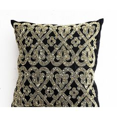 Bead Embroidered Cushion Cover -Gold Pillow Cover -Faux Silk... (2,920 INR) via Polyvore featuring home, home decor, throw pillows, gold toss pillows, geometric throw pillows, beaded throw pillows, gold home decor and gold throw pillows