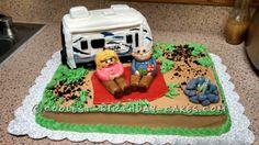 Creative Photo of Camping Birthday Cake . Camping Birthday Cake Cool Rv Camper And Camping Cake Camping Theme Cakes, Camping Birthday Cake, Birthday Cake Icing, Birthday Cake Shop, Themed Birthday Cakes, Themed Cakes, Camper Cakes, Retirement Cakes, Pecan Cake