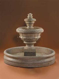 Small Roma Outdoor Water Fountain With 46 Inch Basin – Outdoor Fountain Pros Front Yard Fountains, Large Outdoor Fountains, Stone Garden Fountains, Water Fountains, Roman Fountain, Outdoor Water Features, Water Walls, Cast Stone, Outdoor Art