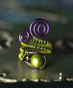 Green Pearl Garnet Copper Wirewrapped Ring by mossandmist on Etsy