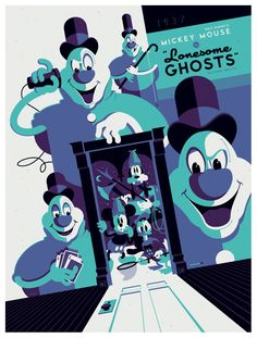 Mickey Mouse in Lonesome Ghosts - silkscreen movie poster (click image for more detail) Artist: Tom Whalen Venue: n/a Location: n/a Date: 2012 Edition: numbered Size: x Condition: Mint No Tom Whalen, Disney Vintage, Retro Disney, Disney Love, Omg Posters, Cartoon Posters, Cartoon Movies, Disney Halloween, Disney Pixar