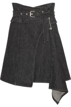 Isabel Marant - Eydie Asymmetric Wrap-effect Denim Skirt - Black - FR