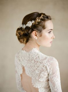 Lace open back + long sleeve wedding dress: http://www.stylemepretty.com/2016/01/22/elegant-ethereal-wedding-inspiration-bel-aire-bridal-giveaway/ | Photography: KT Merry - http://www.ktmerry.com/