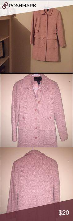 Pink tweed winter peacoat Size 2. Good condition. No stains. Normal wear in tweed. Very cute. Hits below waist. Very warm. Moda international brand from Victoria Secret Moda International Jackets & Coats Pea Coats