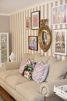 wall + pillows - preppy living room
