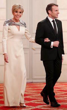 Брижит и Эммануэль Макрон на ужине в Елисейском дворце