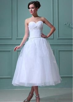 ATTRACTIVE ORGANZA SATIN A-LINE SWEETHEART EMPIRE WAIST TEA LENGTH WEDDING DRESS LACE FORMAL PROM PARTY BALL GOWN