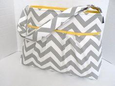 The Monterey Diaper Bag Medium - In Grey Chevron - Adjustable Strap and Elastic Pockets. $75.00, via Etsy.