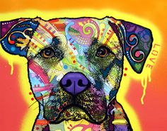 Drip Love Pit by Dean Russo. #pitbull #dogparkpublishing http://www.dogparkpublishing.com/product_info.php/drip-love-pit-bull-print-p-262