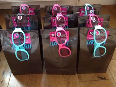 Favour party bags with popstar glasses for the popstar disco party.