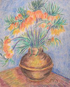 "Pablo Felipe Villegas Mañé ""Bodegón con flores"" Pastel sobre papel  31 x 25 cm. Año 1988  Firmado abajo a la derecha  http://www.portondesanpedro.com/ver-producto.php?id=13394"