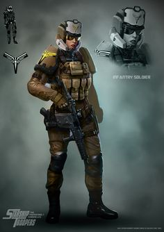 Light Infantry Trooper, David Kaye on ArtStation at https://www.artstation.com/artwork/light-infantry-trooper